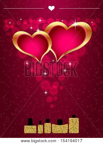 Perfume bottle with hearts inside. Gold sparkles glitter texture. Vector illustration