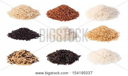 set of rice isolated on a white background