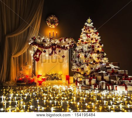 Christmas Tree Lights Room Interior Decorated Xmas Fireplace and Presents in Magic Night