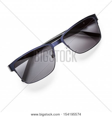 Modern black sunglasses isolated on white background