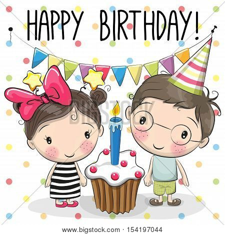 Greeting birthday card with cute boy and girl