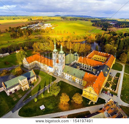 Tepla Abbey  is a Premonstratensian abbey in the western part of Bohemia.  It was founded in 1193. Aerial view of beautiful landmark near Karlovy Vary, Czech Republic, Central Europe.