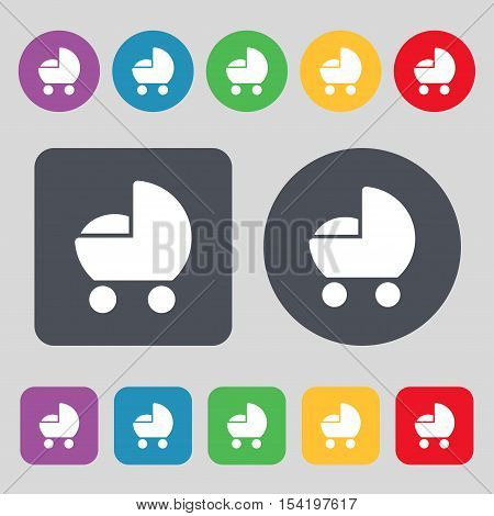Baby Pram Icon Sign. A Set Of 12 Colored Buttons. Flat Design. Vector