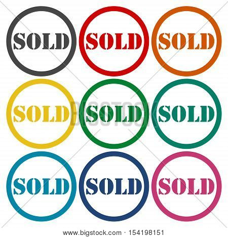 Vector Sold circle icons set on white background
