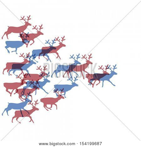 Christmas deers running in herd together. Silhouette illustration.