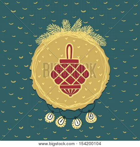 Christmas and New Year round frame with holiday decoration ball lantern symbol. Doodle illustration greeting card.