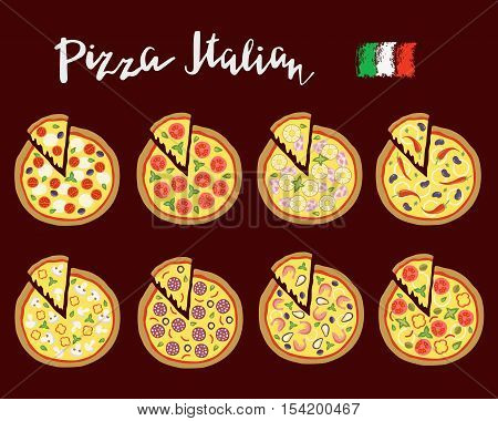 Vector set hand drawn slices of pizza popular varieties, margarita, neapolitan, pepperoni, mexican, hawaiian, seafood, vegetarian and hand lettering.