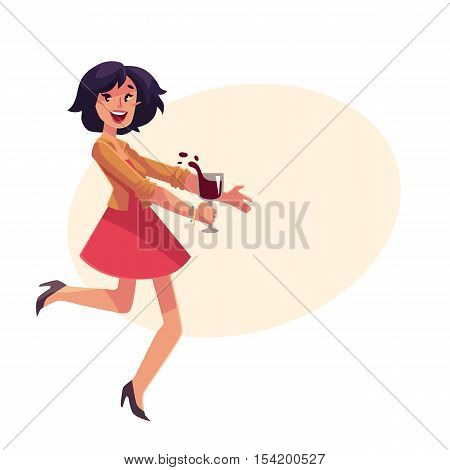 Young beautiful girl dancing at the party with a wine glass, cartoon vector illustration isolated on yellow background. Full height portrait of young pretty woman dancing and having fun