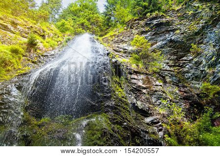 waterfall in mountain forest. Forest waterfall and rocks covered with moss. Waterfall in Carpathian mountains