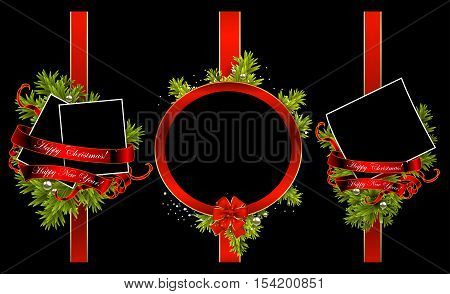 set of christmas frames on a black background