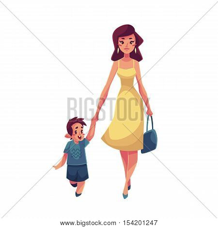 Mother and son walking together, cartoon vector illustrations isolated on white background. Young beautiful mom holding her son hand and walking together, happy family concept