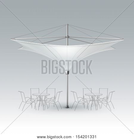 Vector White Blank Inversed Lotus Patio Outdoor Beach Cafe Bar Pub Lounge Restaurant Umbrella Parasol for Branding Front Side View Mock up Close up Isolated on Background