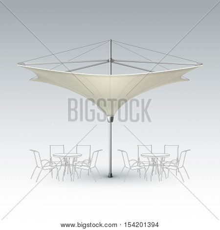 Vector White Beige Blank Inversed Lotus Patio Outdoor Beach Cafe Bar Pub Lounge Restaurant Umbrella Parasol for Branding Front Side View Mock up Close up Isolated on Background