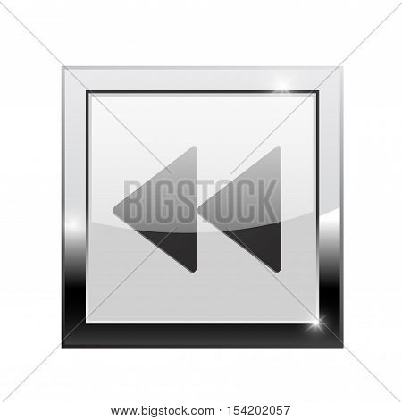 Rewind button. Square web icon. Vector illustration isolated on white background