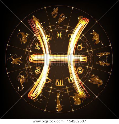 Zodiac sign Pisces in fire-show style on horoscope circle background. Circle with signs of zodiac and constellations.Vector illustration