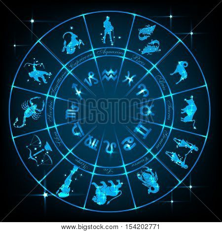 Horoscope circle.Circle with signs of zodiac and constellations.Vector illustration