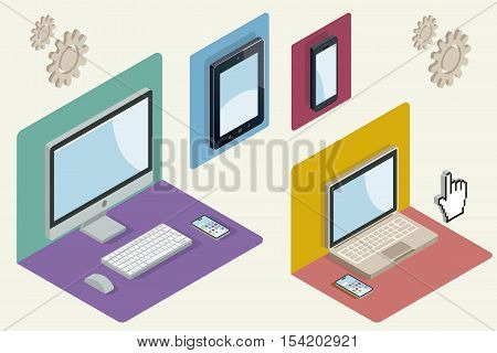 Isometric illustration with a computer laptop tablet and smartphone. Responsive web design concept. Vector illustration.