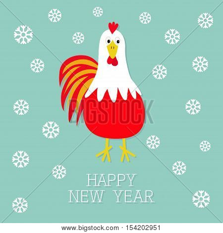 Red Rooster Cock bird. Snow flake. 2017 Happy New Year symbol Chinese calendar. Cute cartoon funny character with big feather tail. Baby farm animal. Blue background. Flat design. Vector illustration