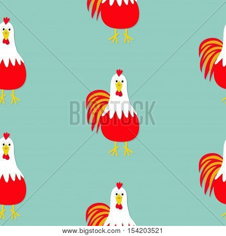 Rooster Cock bird. Seamless Pattern. 2017 Happy New Year symbol Chinese calendar. Cute cartoon funny character with big feather tail. Baby farm animal. Flat design. Blue background Vector illustration