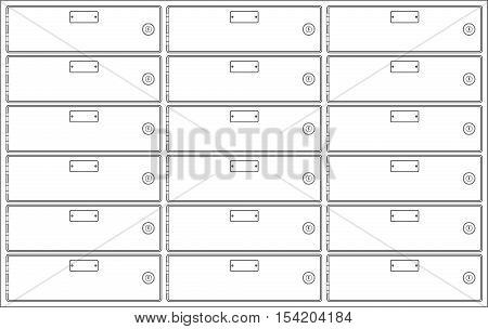 Deposit boxes. Outline vector illustration isolated on white background