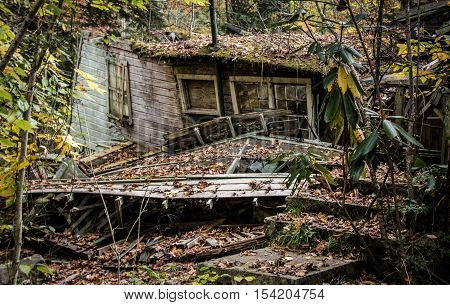 Abandoned Home. The Elkmont district of the Great Smoky Mountains National Park features retro vacation homes left to decay since purchased purchase by the US park Service. it is not private property