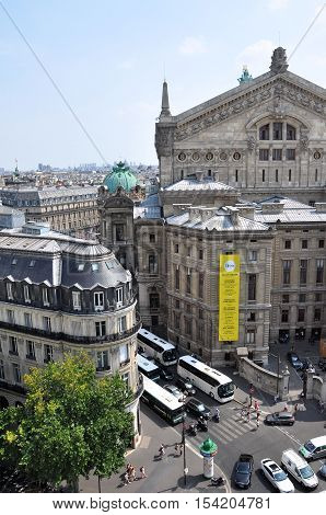 PARIS FRANCE - JULY 2: View of Opera garnier from Galeries Lafayette on July 2 2015 in Paris France.