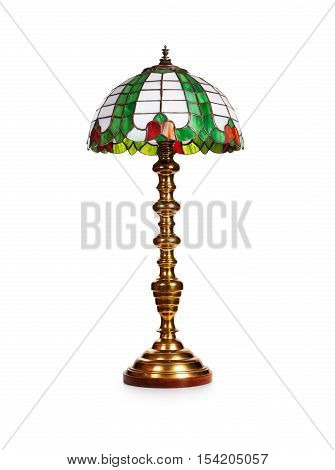 Elegant tiffany glass table lamp isolated on white background. Object with clipping path