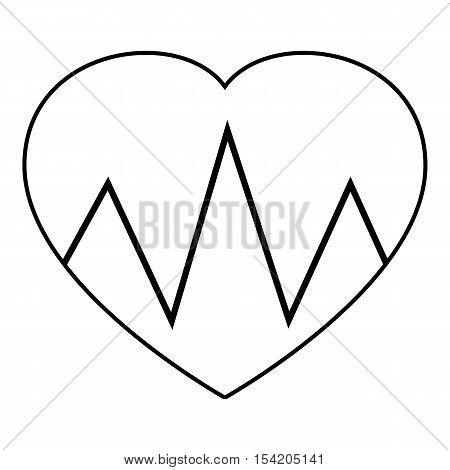 Cardiogram heart icon. Outline illustration of cardiogram heart vector icon for web