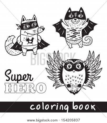 Black and white vector illustration. Hand drawn fox, cat and owl in superheroes costume. Coloring book page with cartoon comic animals