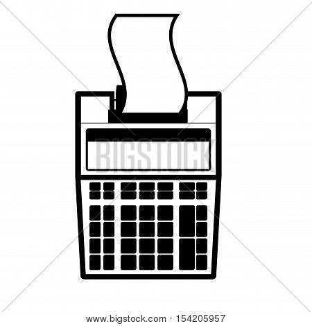 monochrome with print receip calculator vector illustration