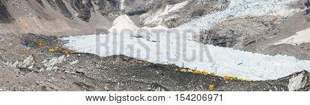 Panoramic view of Mount Everest base camp Everest Nuptse Khumbu glacier Sagarmatha national park Nepal
