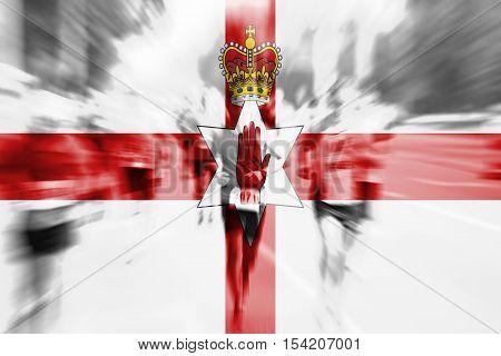 Marathon Runner Motion Blur With Blending  Northen Ireland Flag