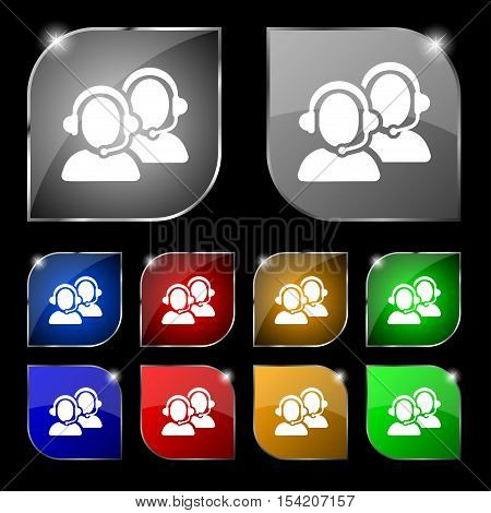 Call Center Icon Sign. Set Of Ten Colorful Buttons With Glare. Vector