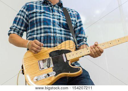 Man Guitar Player On Electric Guitar Telecaster