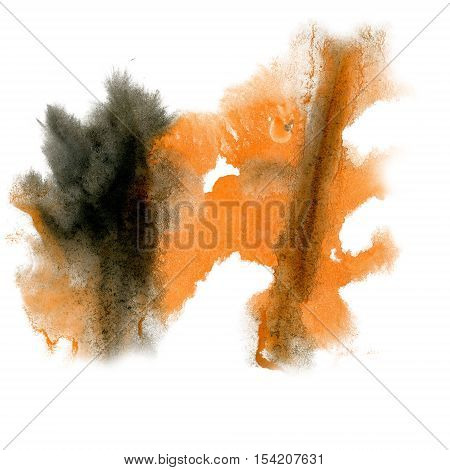 paint splash color ink watercolor isolate orange black stroke splatter watercolour aquarel brush art poster