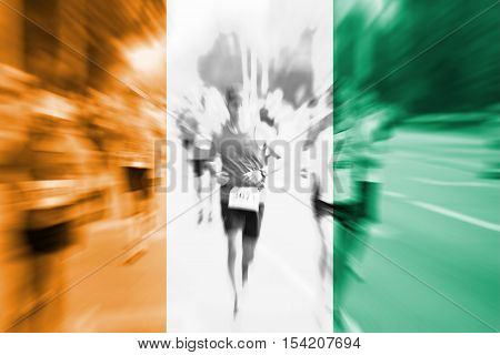 Marathon Runner Motion Blur With Blending  Cote D'ivoire Flag