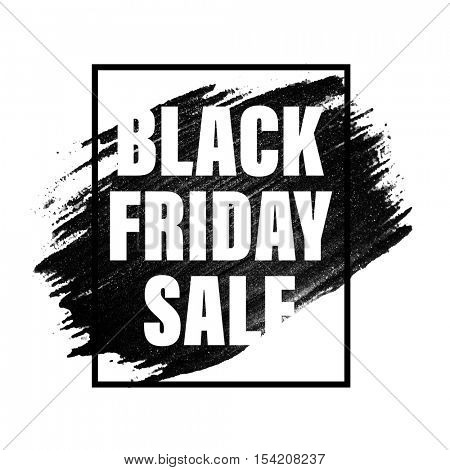 Black Friday Sale text on black paint stroke with black frame on white background.