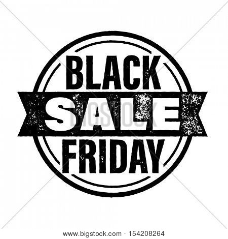 Black Friday Sale stamp. Rough round stamp with ribbon for Black Friday promotion in store, site