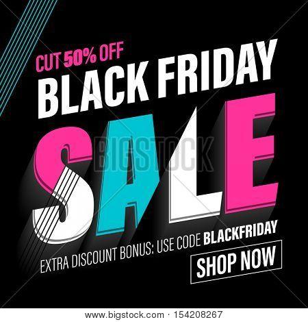 Black Friday Sale banner for online shop with promo code for Black Friday.