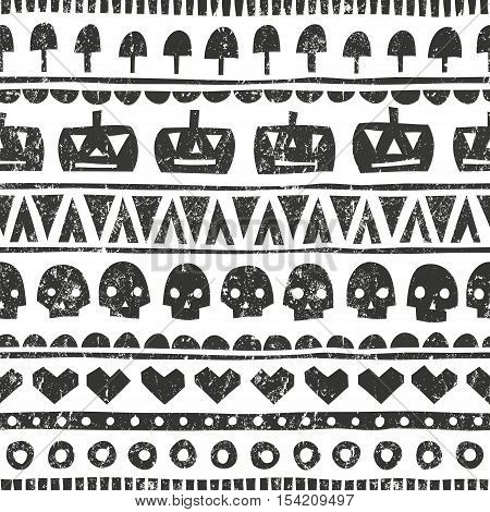 Seamless halloween pattern in tribal style. Monochrome background with pumpkins, skulls, mushrooms and hearts. EPS 10 vector illustration.