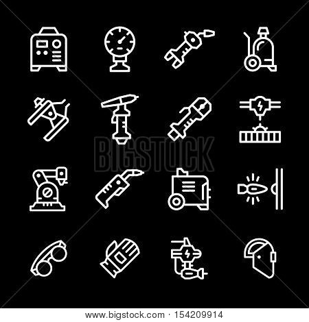 Set line icons of welding isolated on black. Vector illustration