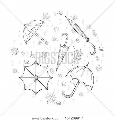 Set of Hand Drawn SKetch autumn umbrellas leaves mushrooms and drops arranged in a shape of a circle. Different Fall Symbols. Perfect for Autumn Design. Vector illustration.