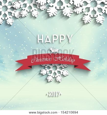 Wooden Christmas Holiday Winter Background With Ribbon Shadows Snowflakes Trees Snow Deer And Text