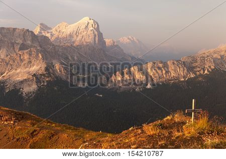 Evening view of Gruppo di Tofana or Tofane Grupe