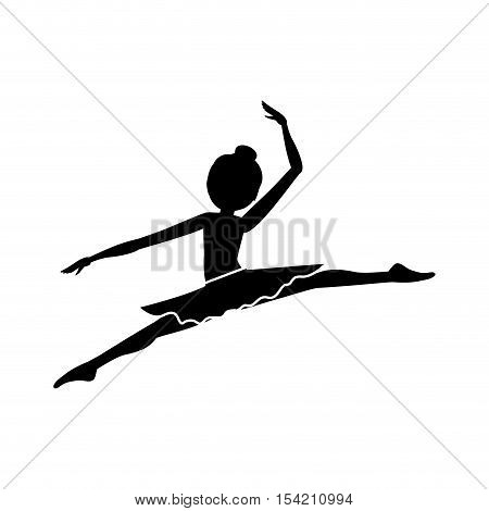 silhouette with dancer pose smal spears vector illustration