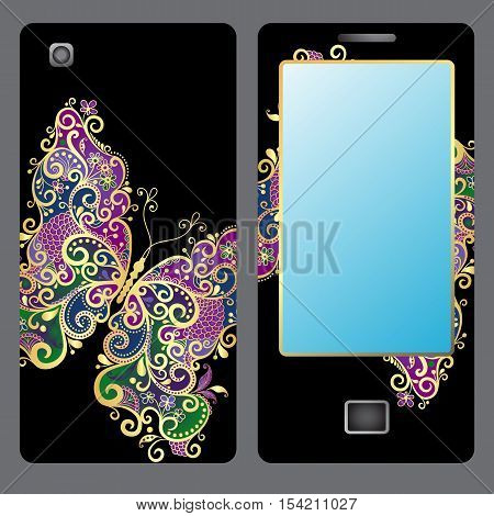 Design for a mobile phone with a vintage gold plated butterfly vector