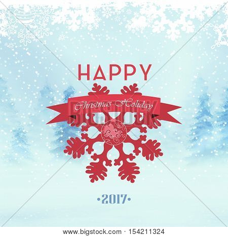 Christmas Background. Winter Day Forest Snow Snowflakes Ribbon And Wishes.