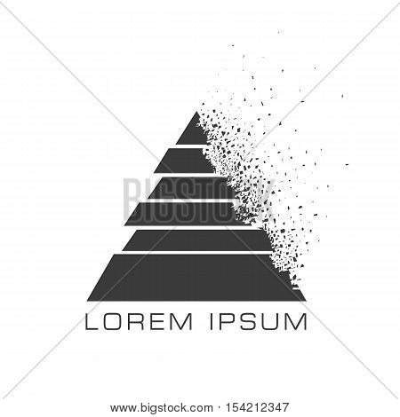 Triangle vector logo concept with debris on white background. Vector illustration