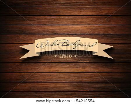 Wooden Brown Empty Template Background With Ribbon