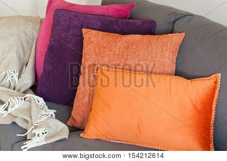 colorful cushion on sofa cozy home autumn